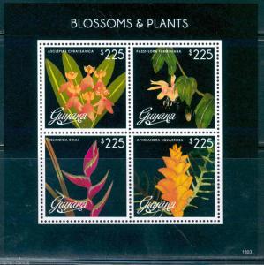 GUYANA BLOSSOMS & PLANTS  SHEET OF FOUR PART II  MINT NH