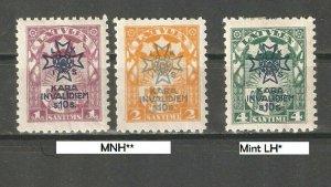 Latvia 1923, Surcharged, Scott # B21-B23, VF MNH** / 1 MLH*