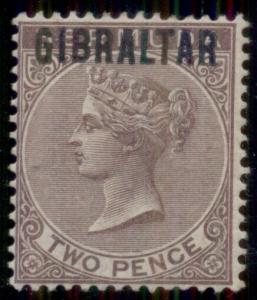 GIBRALTAR #3, 2p violet brown, og, LH, VF, Scott $155.00