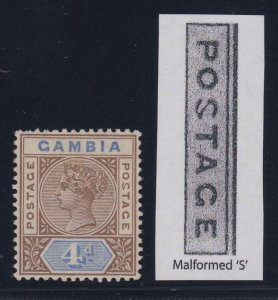 Gambia, SG 42a, MHR Malformed S variety