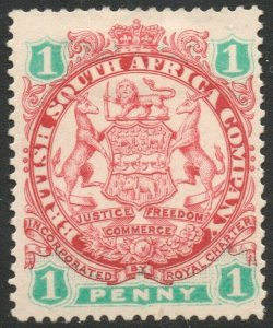 RHODESIA-1896-97 1d Scarlet & Emerald Sg 29 MOUNTED MINT V37881