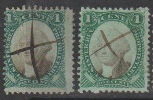 U.S. Scott #RB1a-RB1b Revenue Stamps - Used Set of 2