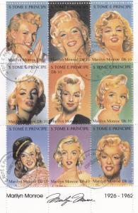 St. Thomas & Prince 1994 Sc#1167a-1167i Marilyn Monroe Souvenir Sheet CTO