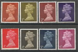 GREAT BRITAIN, Machins, 1967-69, Mint set of 8, Scott MH1-MH9