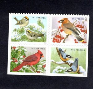 5126-29 Songbirds In Snow Block Of 4  VERY NICE  MNH