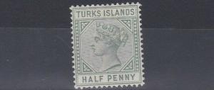 TURKS & CAICOS  1893  S G 70   1/2D  DULL GREEN   MH