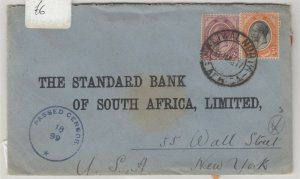 South Africa 1917 Censor Bank Cover To New York (Wax Seals) J6059