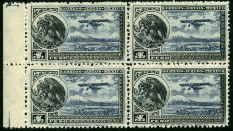 MEXICO C17, $1Peso EARLY AIR MAIL. Block of 4 MNH (479)