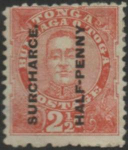 Tonga 1895 SG29b ½d on 2½d vermilion King George II SURCHARCE. MLH