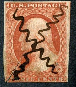 #11 – 1855 3c George Washington. Used Tear...