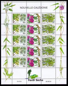New Caledonia Forest Flowers Sheetlet of 15v SG#1320-1322 MI#1334-1336