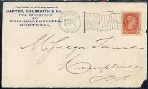 Canada 1897 Front to Ontario from Tea Importer bearing QV...