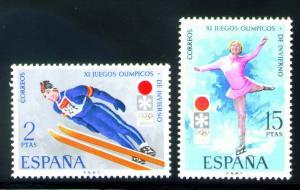 Spain Scott 1701-2 MNH** Winter Olympic stamp set 1972