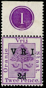 SOUTH AFRICA - Orange Free State SG125, 2d on 2d brt mauve, NH MINT. CONTROL