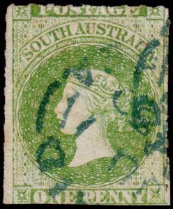 South Australia Scott 15 (1860) Used G, CV $55.00 M