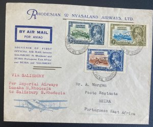 1935 Lusaka Northern Rhodesia First Flight Airmail Cover To Beira Mozambique