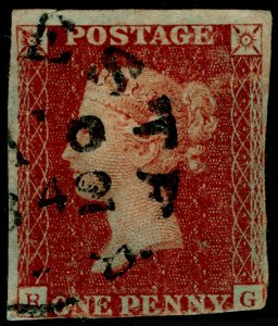 SG10, 1d deep red-brown, USED. Cat £825. TOWN POSTMARK.