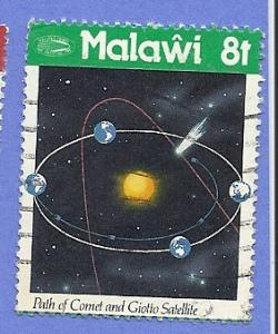 Malawi Scott #478 Path of Comet and Giotto Satelite, used