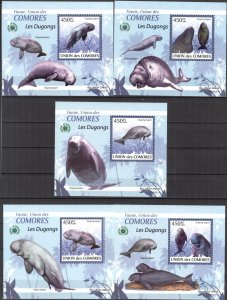{100} Comoros 2009 Marine Life Dugongs 5 S/S Deluxe MNH**