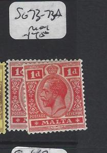 MALTA (P2205B)  KGV  1D  SG 73-73A   MOG