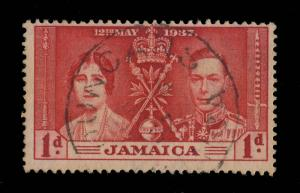 JAMAICA - 1937 -  DUNCANS  Double Ring Date Stamp on SG 118 1d Coronation