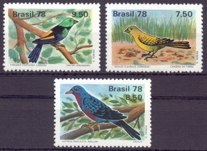 Brazil. 1978. 1651-53. Birds fauna. MNH.