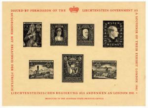 (I.B-JA) Liechtenstein Cinderella : London Exhibition Reprint Mini-Sheet