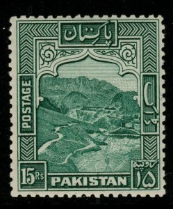 PAKISTAN SG42 1948 15r BLUE-GREEN MTD MINT