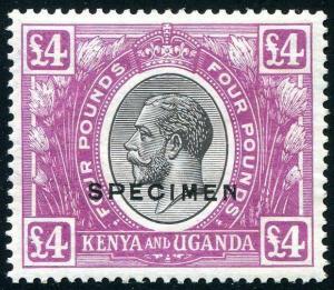 HERRICKSTAMP KENYA, UGANDA, TANGANYIKA Sc.# 40 KG V £4 Black Specimen