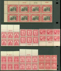 USA : 1929-32. 7 different 2¢ Red P/Bs. All Fresh & VF, Mint NH. Catalog $210.00