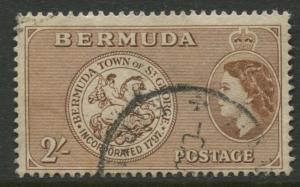 Bermuda -Scott 158 - QEII Pictorial Definitive - 1955 - FU -Single 2/- Stamp