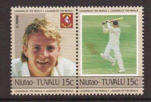 Tuvalu  Niutao  #22   MNH   1985  cricket players  15c pair  Penn