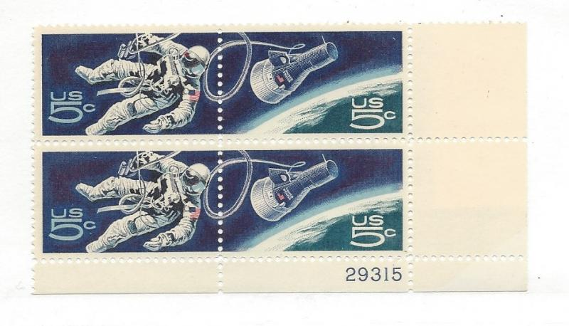 United States, 1331-32, 5c Accomplishments Space Plate Block of 4 #29315 LR, MNH