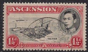 Ascension Island 1938 - 53 KGV1 1 1/2d Black & Vermilion used SG 40 ( 902 )