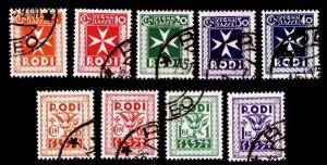 1934 ITALY - RHODES #J1-J9 POSTAGE DUE - USED - VF - CV$102.00 (ESP#1554)