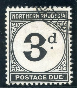 Northern Rhodesia 1952 KGVI Postage Due 3d black (CH) very fine used. SG D3a.
