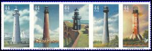 PCBstamps  US #4409/4413a Strip $2.20(5x44c)Lighthouses, MNH, (4)