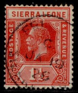 SIERRA LEONE GV SG133, 1½d scarlet, FINE USED. CDS