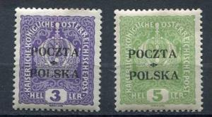 Austria/Poland 1919 Sc 41-2 Mi 29-0 MH Overprint pochta Polska  NSigned RRR C...