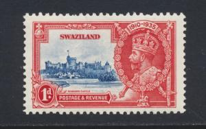 SWAZILAND 1935 SILVER JUBILEE 1d FLAGSTAFF ON RIGHT TURRET NH SG#21d SEE BELOW