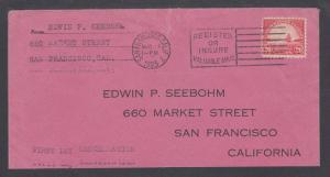 US Sc 567 FDC. 1923 20c Golden Gate Bridge, Seebohm cover, RARE