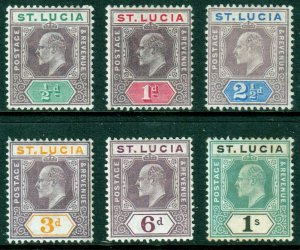 St Lucia KEVII 1904 Part Set inc. 1/- Mint Hinged MH