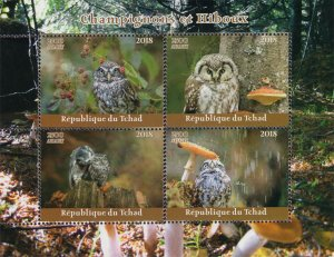 Chad 2018 Owls Birds of Prey Mushrooms 4v Mint Stamps Sheet S/S. (#107)