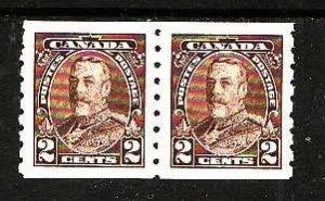 Canada-Sc#229-unused NH,og, 2c KGV Pictorial coil pair-Cdn1082-1935-