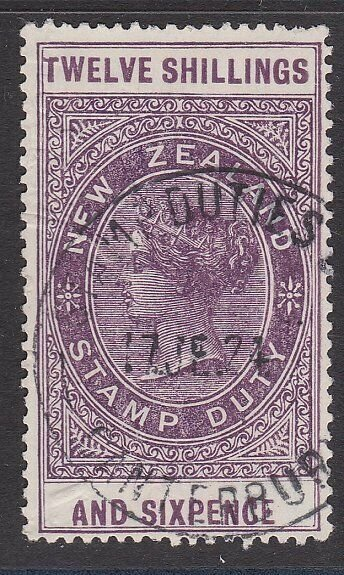 NEW ZEALAND 1880 LONG TYPE STAMP DUTY 12/6d used............................J247