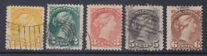 Canada 35-39 Used 1870-76 1c-6c Queen Victoria Issues F-VF