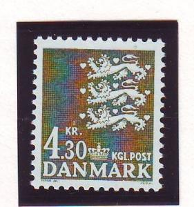 Denmark Sc 716 1984 4.3 kr dark olive green 3 lions stamp mint NH