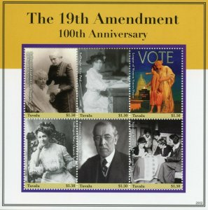 Tuvalu Stamps 2020 MNH 19th Amendment Women's Right to Vote Woodrow Wilson 6v MS