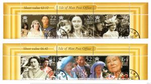 Isle of Man Sc 857-8 2000 Queen Mother 100 stamp set used
