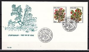 Iceland, Scott cat. 593-594. Flowers issue. First day cover. ^
